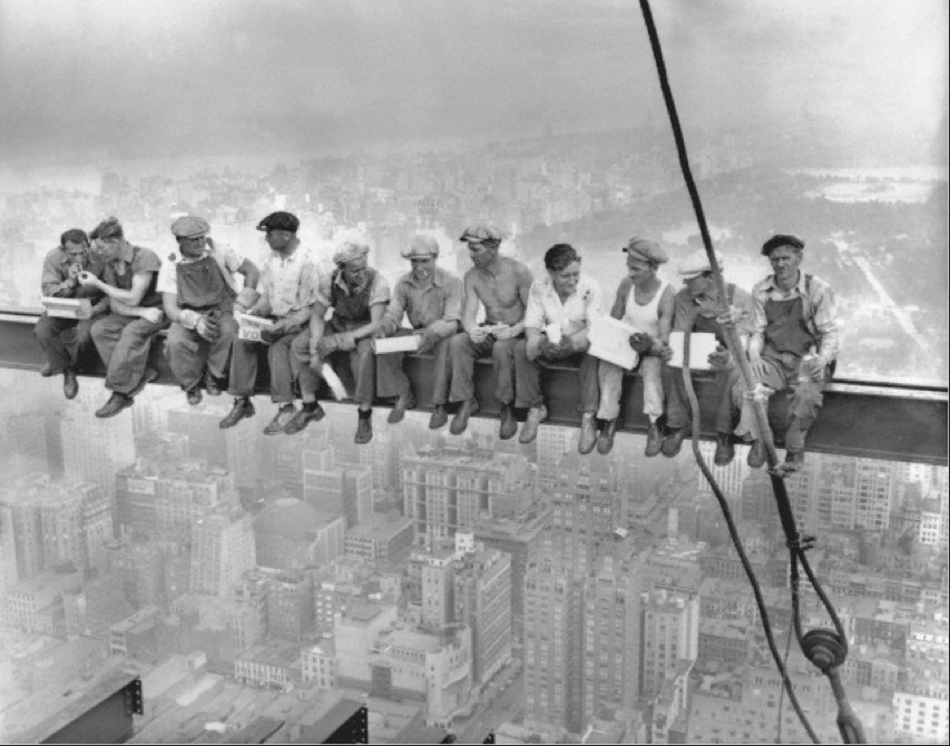 Empire State Building workers having lunch