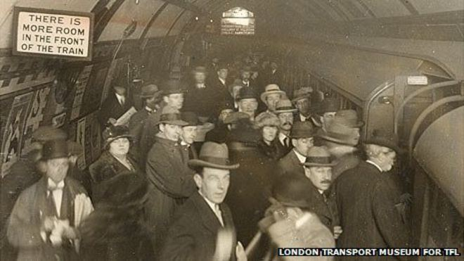 London underground 100 years ago. On a personal note, my grandad was alive in London when this pic was taken