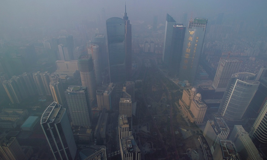 Guangzhou, one of the cities in the plan in the smog.
